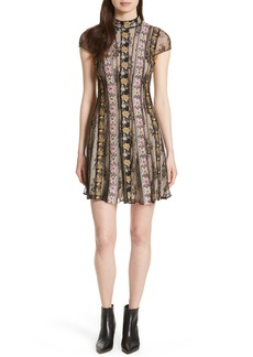 Alice + Olivia Gwyneth Embroidered Floral Dress