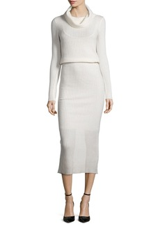 Alice + Olivia Hailee Ribbed Cowl-Neck Sweaterdress