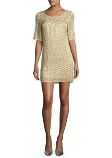 Alice + Olivia Harlow Embellished Chevron Shift Dress