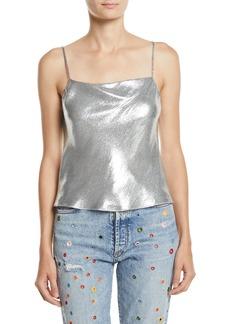 Alice + Olivia Harmon Drapey Metallic Slip Tank Top