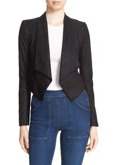 Alice + Olivia 'Harvey' Suede & Stretch Knit Open Front Jacket