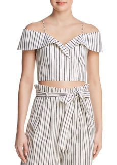Alice + Olivia Haydee Cold-Shoulder Striped Cropped Top