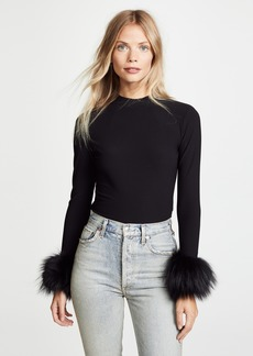 alice + olivia Haylen Top with Fur Cuffs