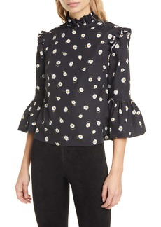 Alice + Olivia Henrietta Daisy Pattern Ruffled Cotton Boxy Blouse