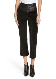 Alice + Olivia High Waist Flare Leg Leather & Corduroy Crop Pants