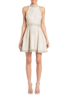 Alice + Olivia Hollie Embellished Mockneck Dress