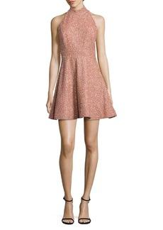 Alice + Olivia Hollie Silk Embellished Mockneck Dress