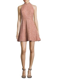Alice + Olivia Hollie Silk Embellished Mockneck Dress
