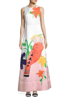 Alice + Olivia Honey Sleeveless Printed A-Line Gown