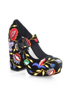 Alice + Olivia Houston Embroidered Velvet Mary Jane Platform Pumps