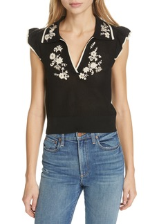 Alice + Olivia Igby Embroidered Sweater
