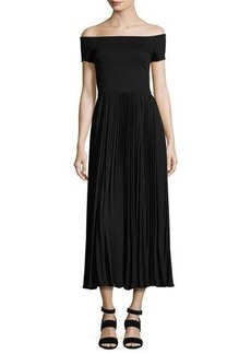 Alice + Olivia Ilana Off-The-Shoulder Plissé Tea-Length Dress