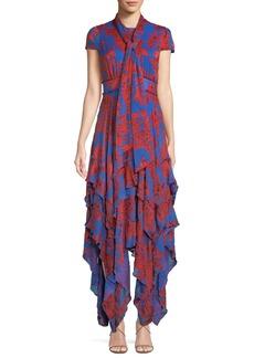 Alice + Olivia Ilia Floral Tie-Neck Layered Ruffle Dress
