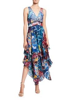 Alice + Olivia Ilia V-Neck Layered Pleated Ruffle Dress