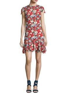 Alice + Olivia Imani Floral-Lace Cap-Sleeve Fitted Short Dress