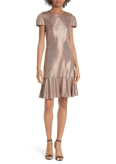 Alice + Olivia Imani Ruffle Hem Metallic Textured Dress