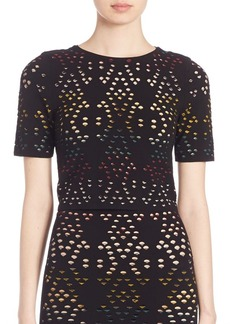 Alice + Olivia Ines Pointelle Cropped Top