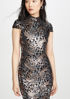alice + olivia Inka Strong Shoulder Midi Sequin Dress