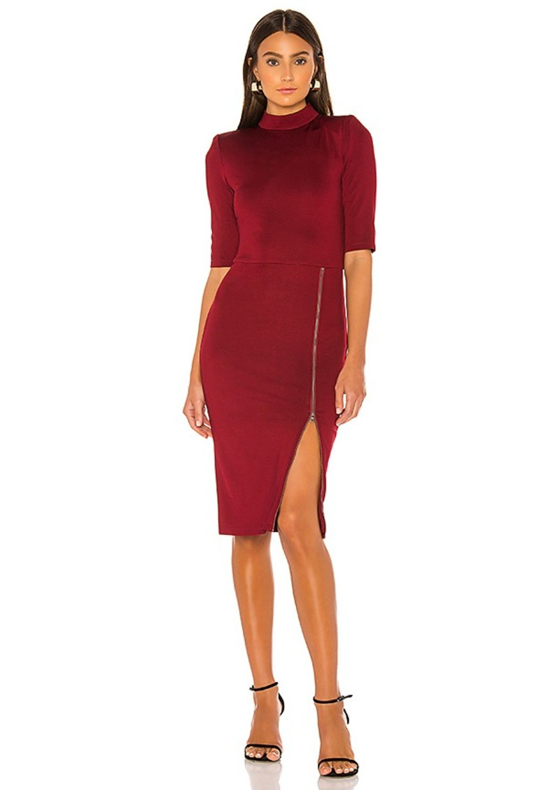 Alice + Olivia Inka Mock Neck Zip Midi Dress