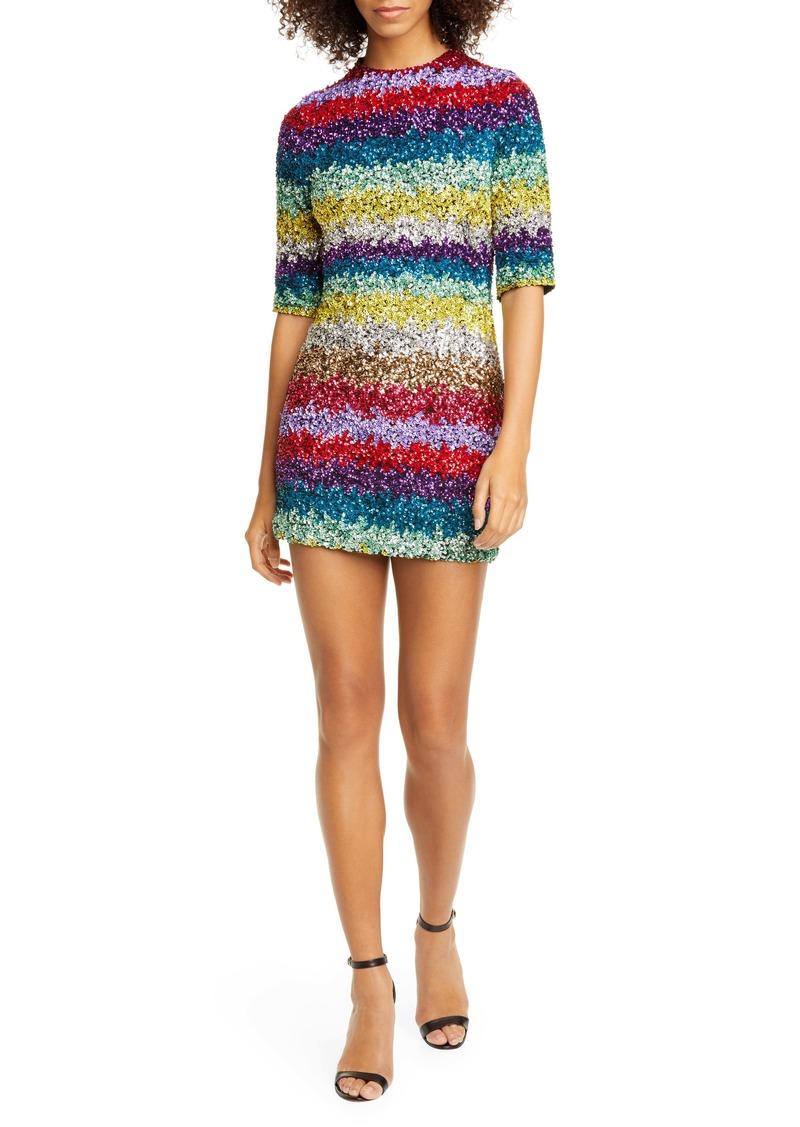 Alice + Olivia Inka Sequin Stripe Mock Neck Minidress