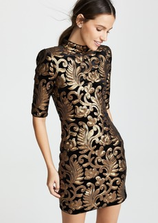 alice + olivia Inka Sequin Strong Shoulder Dress