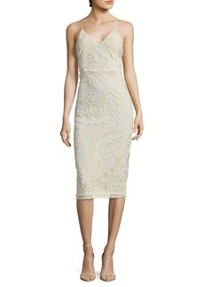 Alice + Olivia Ira Embroidered Sheath Dress