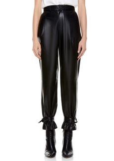 Alice + Olivia Ivette Crop Bow Leather Pants