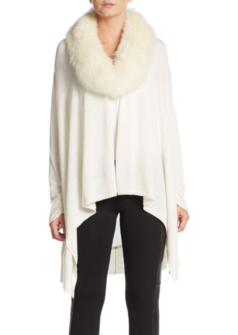 Alice + Olivia Izzy Cascade Fox Fur-Accented Knit Cardigan