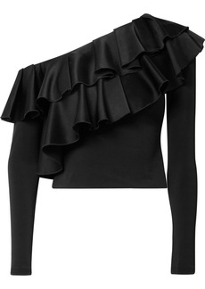 Alice + Olivia Izzy cropped ruffled satin and stretch-crepe top