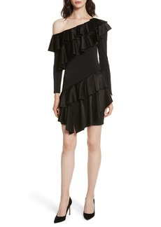 Alice + Olivia Izzy One-Shoulder Ruffle Dress