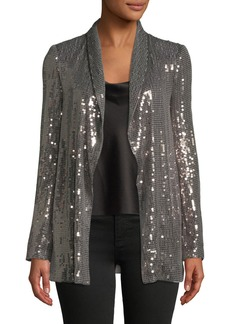 Alice + Olivia Jace Sequined Open-Front Tux Blazer