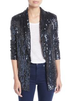 Alice + Olivia Jace Shawl-Collar Oversized Sequin Tux Blazer