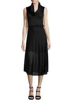 Alice + Olivia Jacey Cowl-Neck Blouson Dress