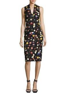 Alice + Olivia Jacki Floral Embroidered Sleeveless Sheath Dress