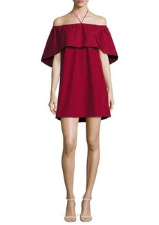 Alice + Olivia Jada Off-the-Shoulder Cape Dress
