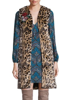 Jade Faux Fur Leopard-Print Vest