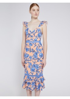 alice + olivia JADE FLORAL RUFFLE MIDI DRESS