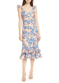 Alice + Olivia Jade Floral Ruffle Strap Stretch Cotton Dress