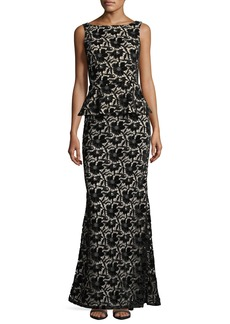 Alice + Olivia Jae Peplum Open-Back Velvet Lace Gown