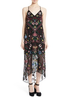 Alice + Olivia Jameson Embroidered Midi Dress