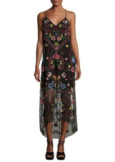Alice + Olivia Jameson Floral Embroidered Y-Back Midi Dress