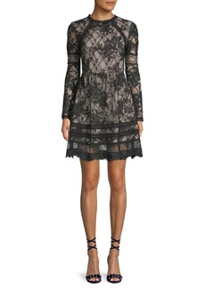 Alice + Olivia Janae Floral Lace A-Line Dress