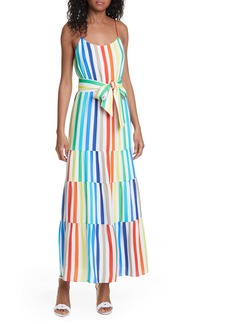 Alice + Olivia Janan Rainbow Stripe Tiered Sundress