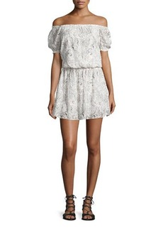 Alice + Olivia Janell Off-the-Shoulder Silk Lace Dress
