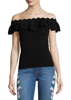 Alice + Olivia Janella Off-The-Shoulder Top