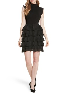 Alice + Olivia Janice Tiered Ruffle Knit Dress