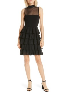 Alice + Olivia Janice Tiered Ruffle Mesh Knit Dress