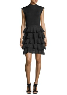Alice + Olivia Janice Tiered Ruffled Fit-and-Flare Knit Dress