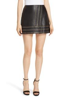 Alice + Olivia Jaya Chain Detail Leather Miniskirt