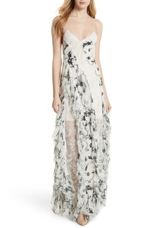 Alice + Olivia Jayda Godet Lace Inset Silk Maxi Dress